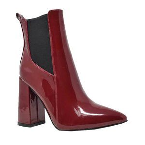 NEW WOMEN'S STACKED CHUNKY HEEL BOOTS BURGUNDY